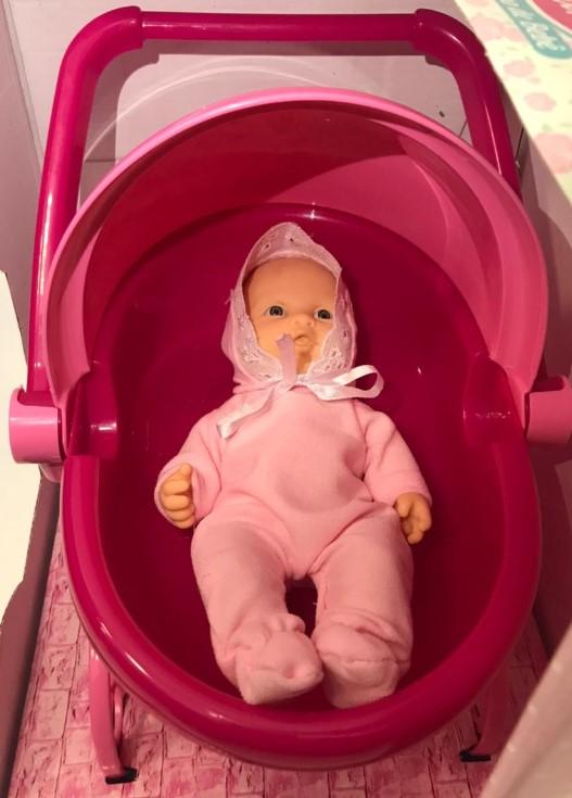 Mini Bebê Mania Carrinho De Bebê Roma Rosa choque e Rosa claro 5359