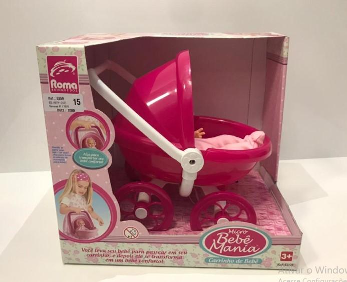 Mini Bebê Mania Carrinho De Bebê Rosa com Branco Roma 5359