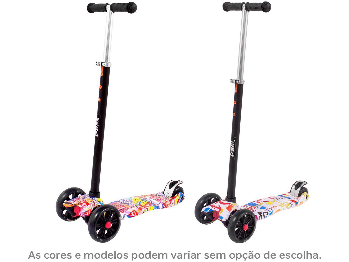 patinete 3 rodas led grafitado preto e branco unitoys