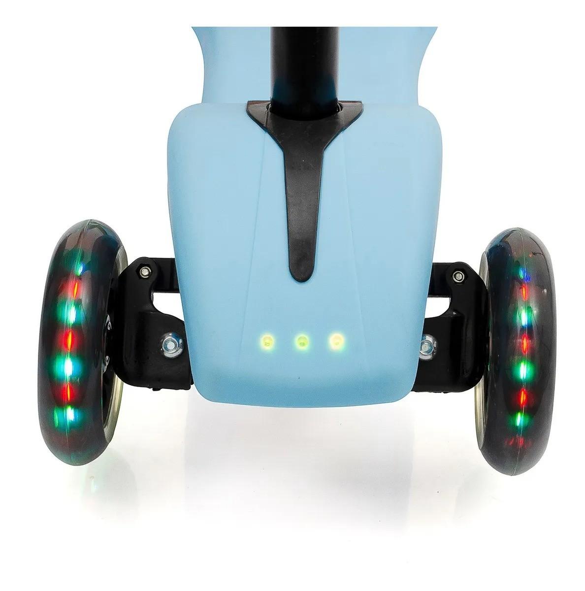 Patinete turbinado 3 rodas com luz e musica azul