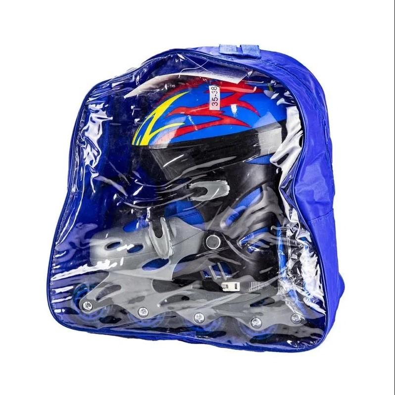 Patins infantil azul com kit de proteção