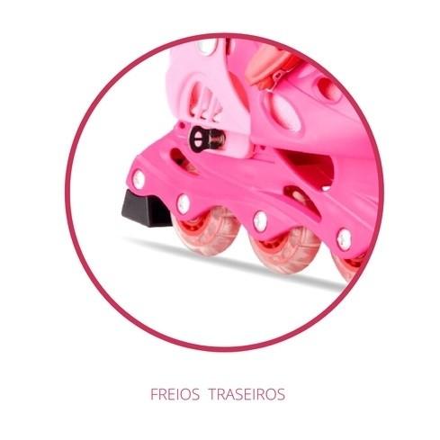 Patins Infantil Rosa 35-38 Ajustável 04 Rodas + Kit Proteção