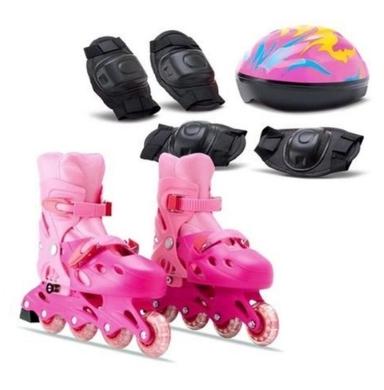 Patins infantil rosa com kit de proteção 30 a 34 - Samba Toys