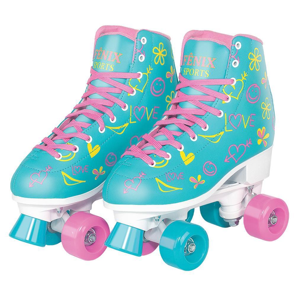 Patins Roller Skate ajustáveis Azul (31-42) Fenix