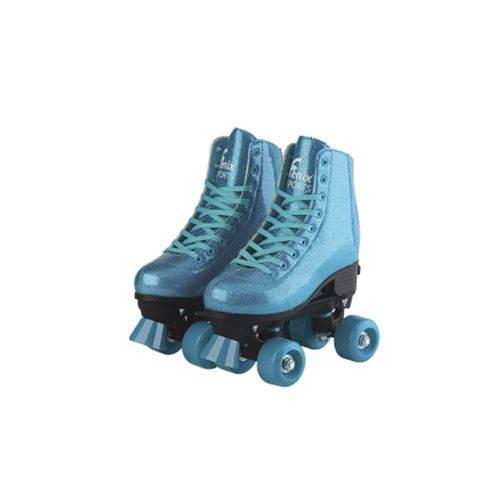 Patins Roller Skate ajustáveis Azul Glitter (31-42) Fênix