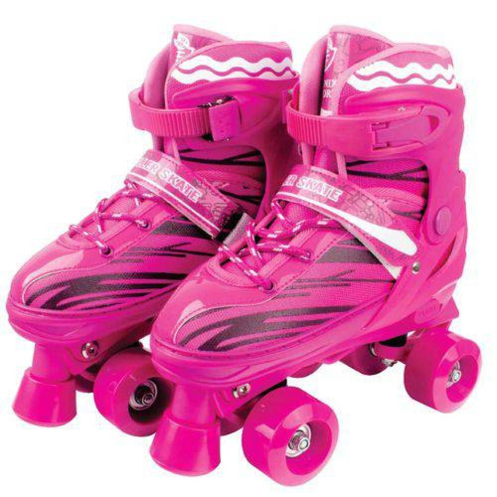 Patins Roller Skate ajustáveis Rosa (30-41) Fênix