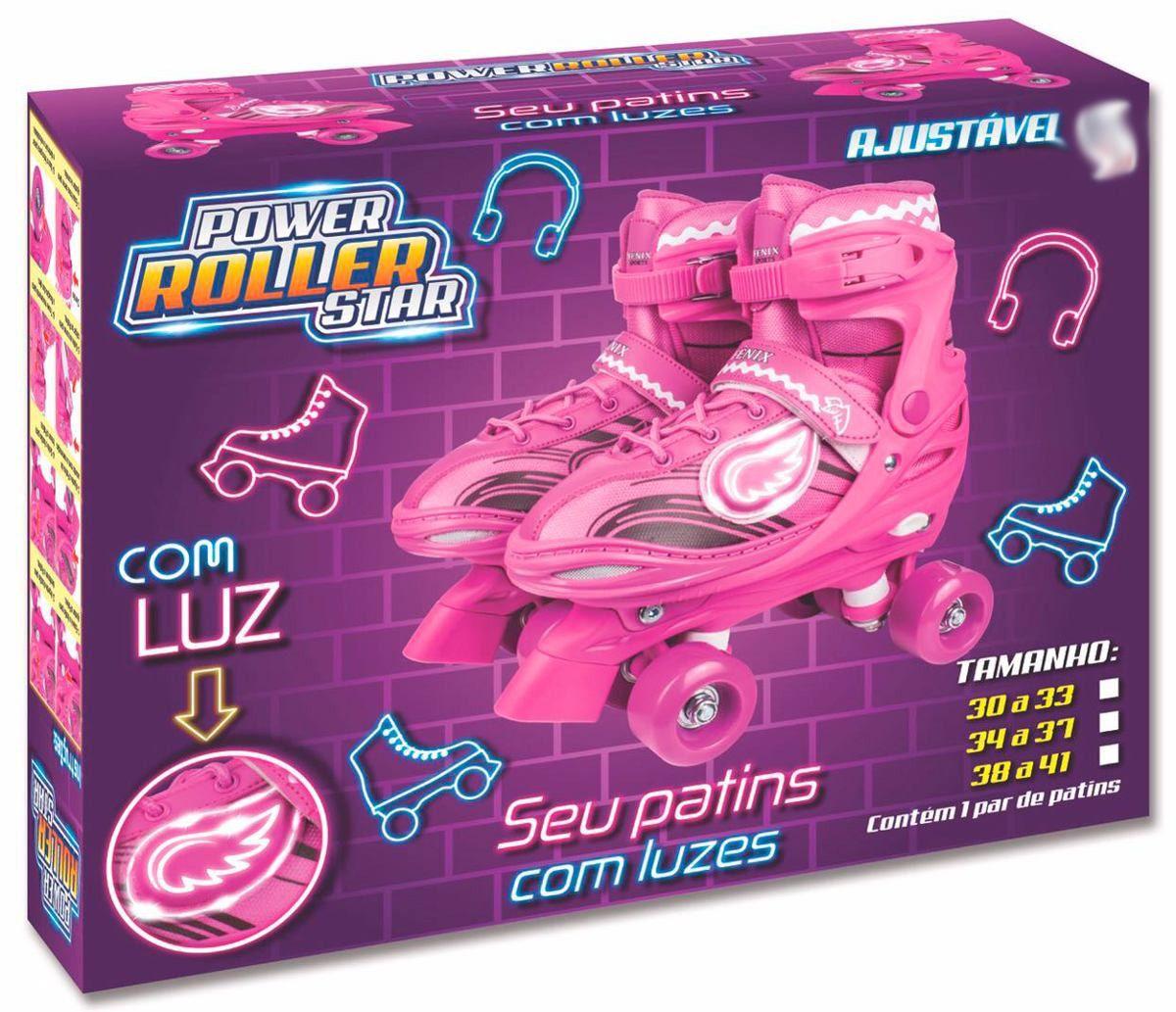 Patins Roller Skate ajustáveis Rosa Com Luz (30-41) Fênix