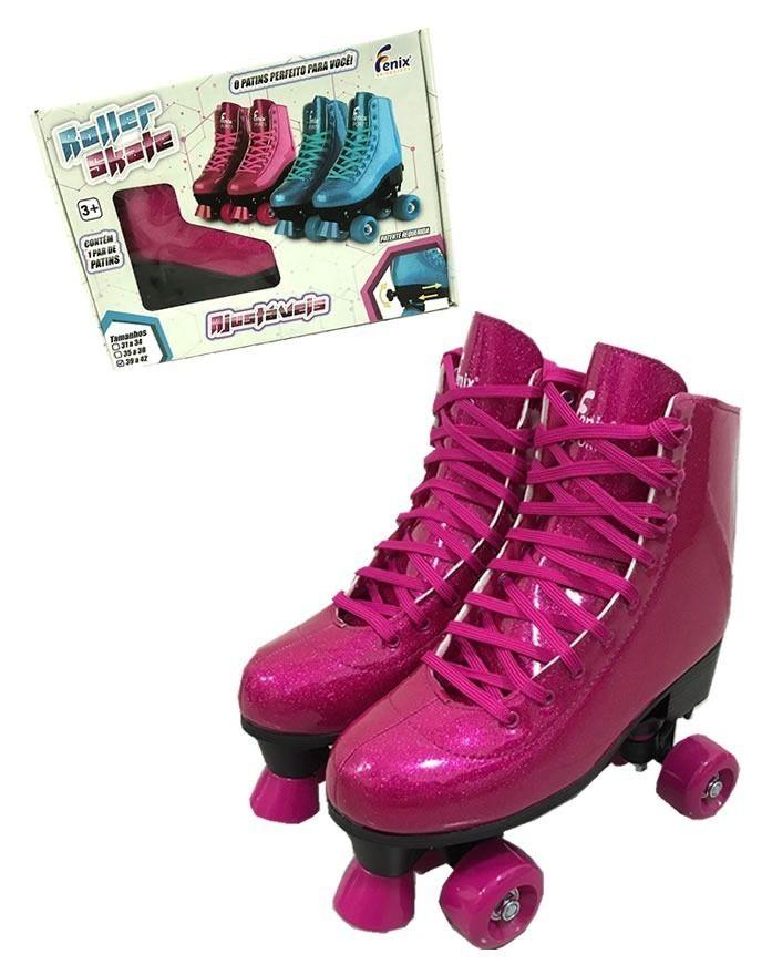 Patins Roller Skate ajustáveis Rosa Glitter (31-42) Fênix