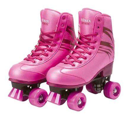 Patins Roller Skate Ajustáveis Sou Luna  Rosa (31-42) Fênix
