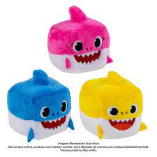 Pelúcia Baby Shark - Cubo Branco e Rosa - Toyng