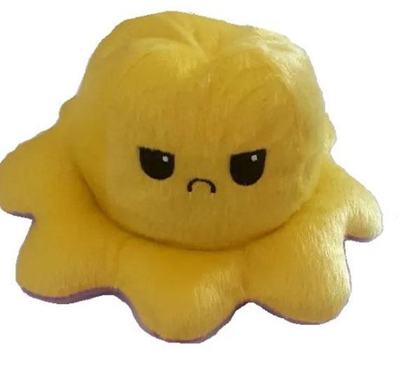 Pelúcia Polvo Humor médio amarelo e roxo Mega fofo