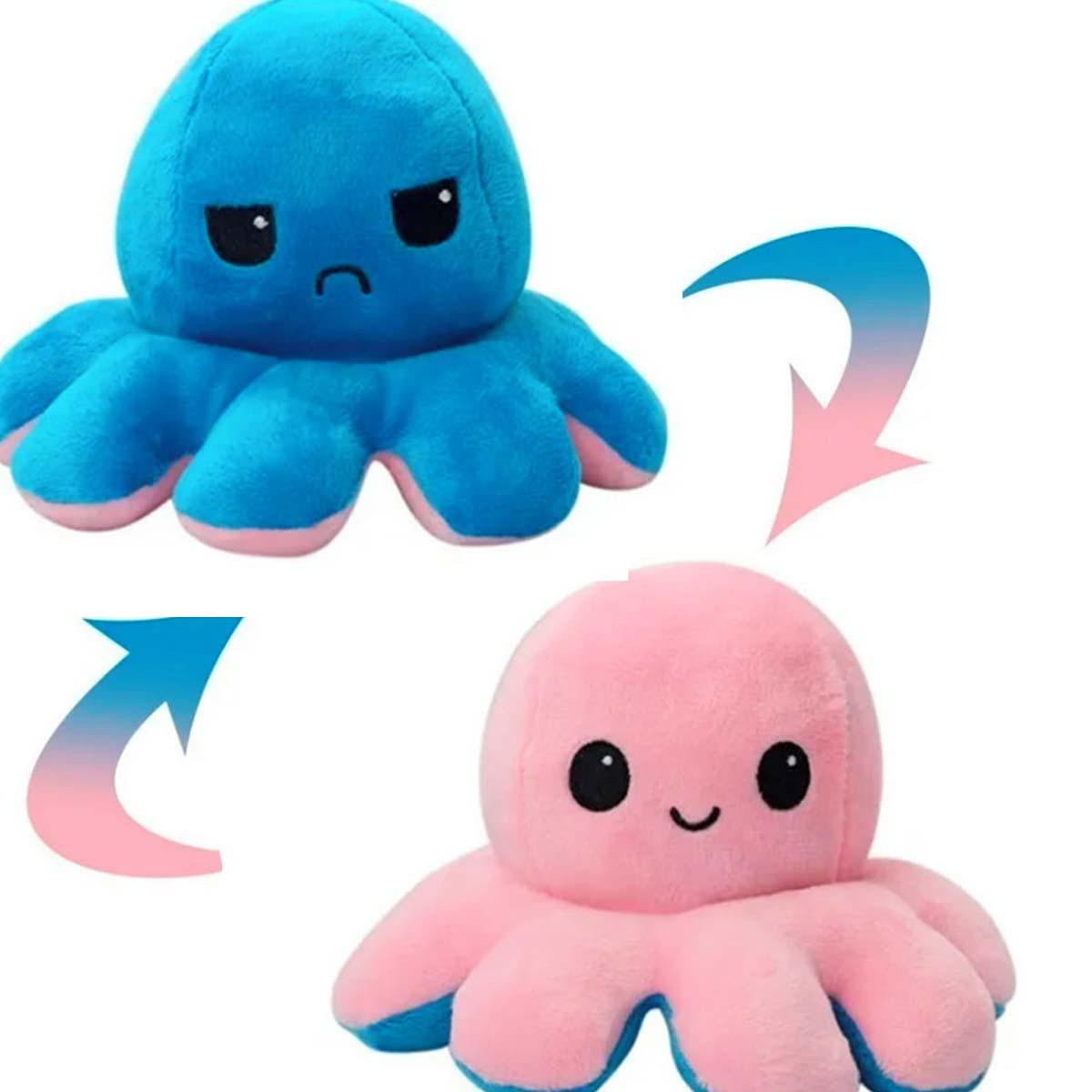 Pelúcia Polvo Humor Médio Azul e Rosa Mega fofo