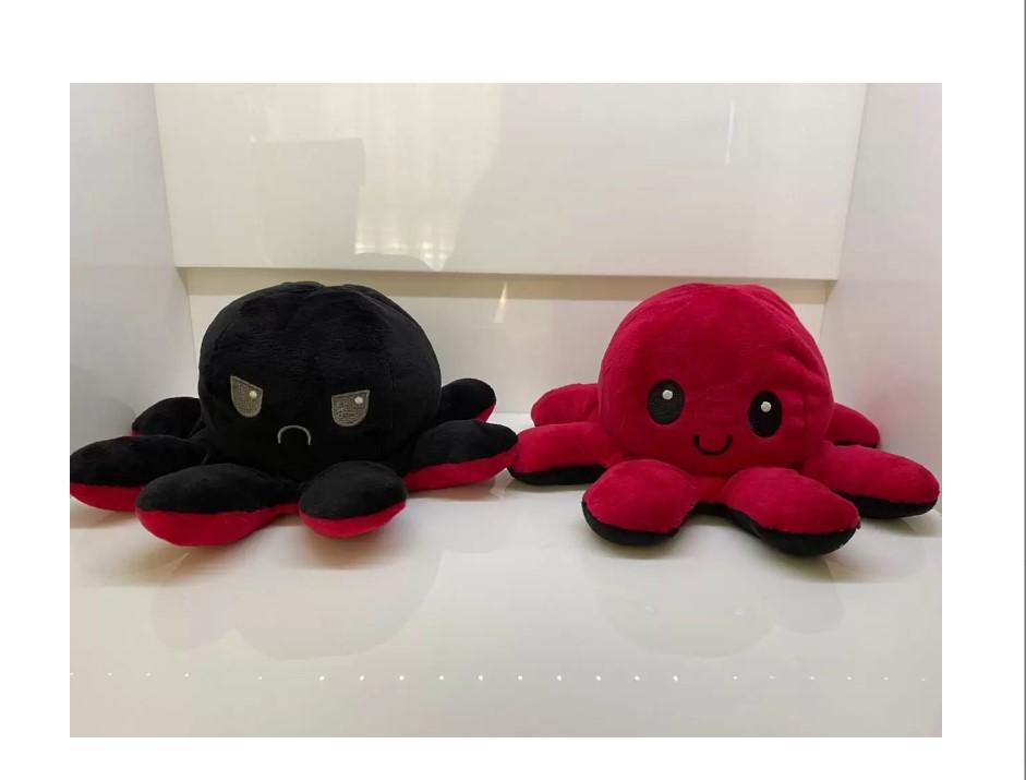Pelúcia Polvo Humor vermelho e preto Mega fofo