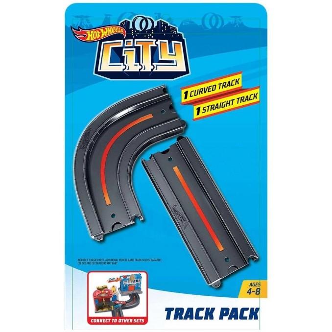 Pista Hot Wheels - 1 Seção Reta e 1 Seção Curva - HW City