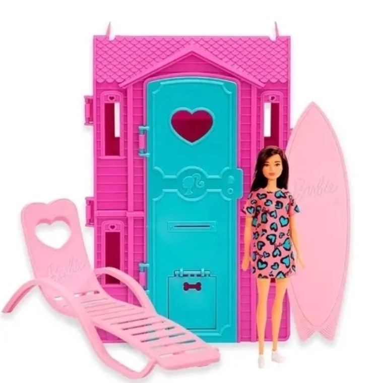 Playset e Boneca Barbie Surf Studio da Barbie Morena Fun