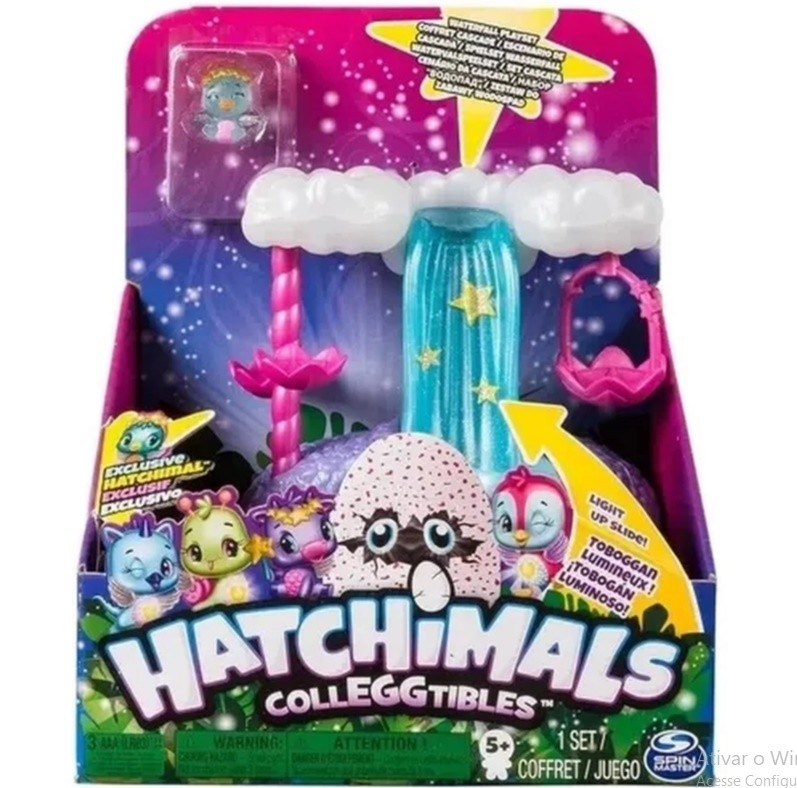 Playset e Mini Figura Surpresa Cascata Iluminada Hatchimals Colleggtibles Sunny