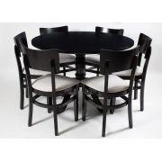 Jogo Mesa Redonda com 6 Cadeiras de Madeira Maciça para Cozinha