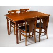 Jogo Mesa Retangular com 4 Cadeiras de Madeira Reforçada