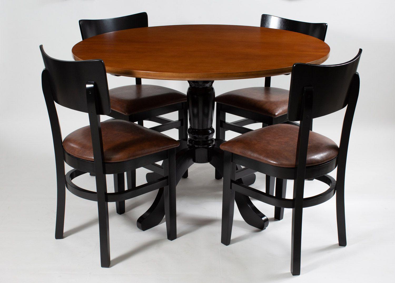 Jogo Mesa Redonda com 4 Cadeiras de Madeira com Assento Estofado