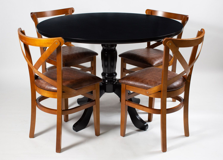 Jogo Mesa Redonda com 4 Cadeiras de Madeira para Área Interna