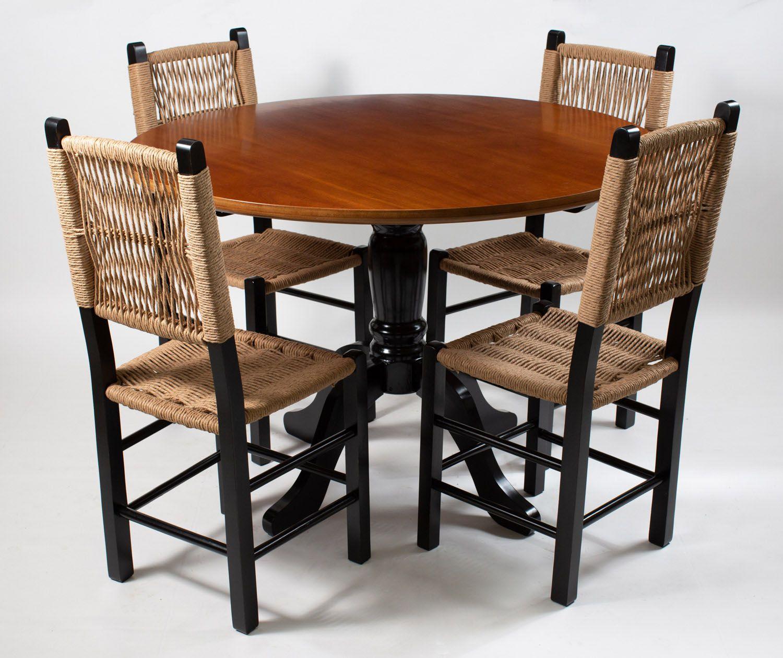 Jogo Mesa Redonda com 4 Cadeiras de Palhinha Moderna