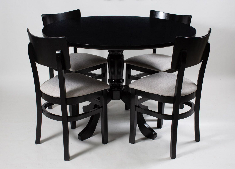 Jogo Mesa Redonda com 4 Cadeiras de Madeira Pura