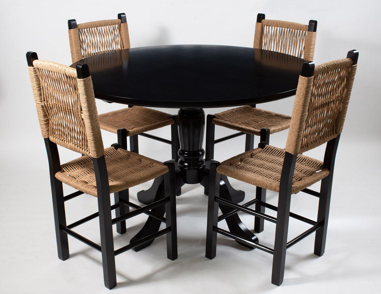 Jogo Mesa Redonda com 4 Cadeiras Rusticas para Cozinha