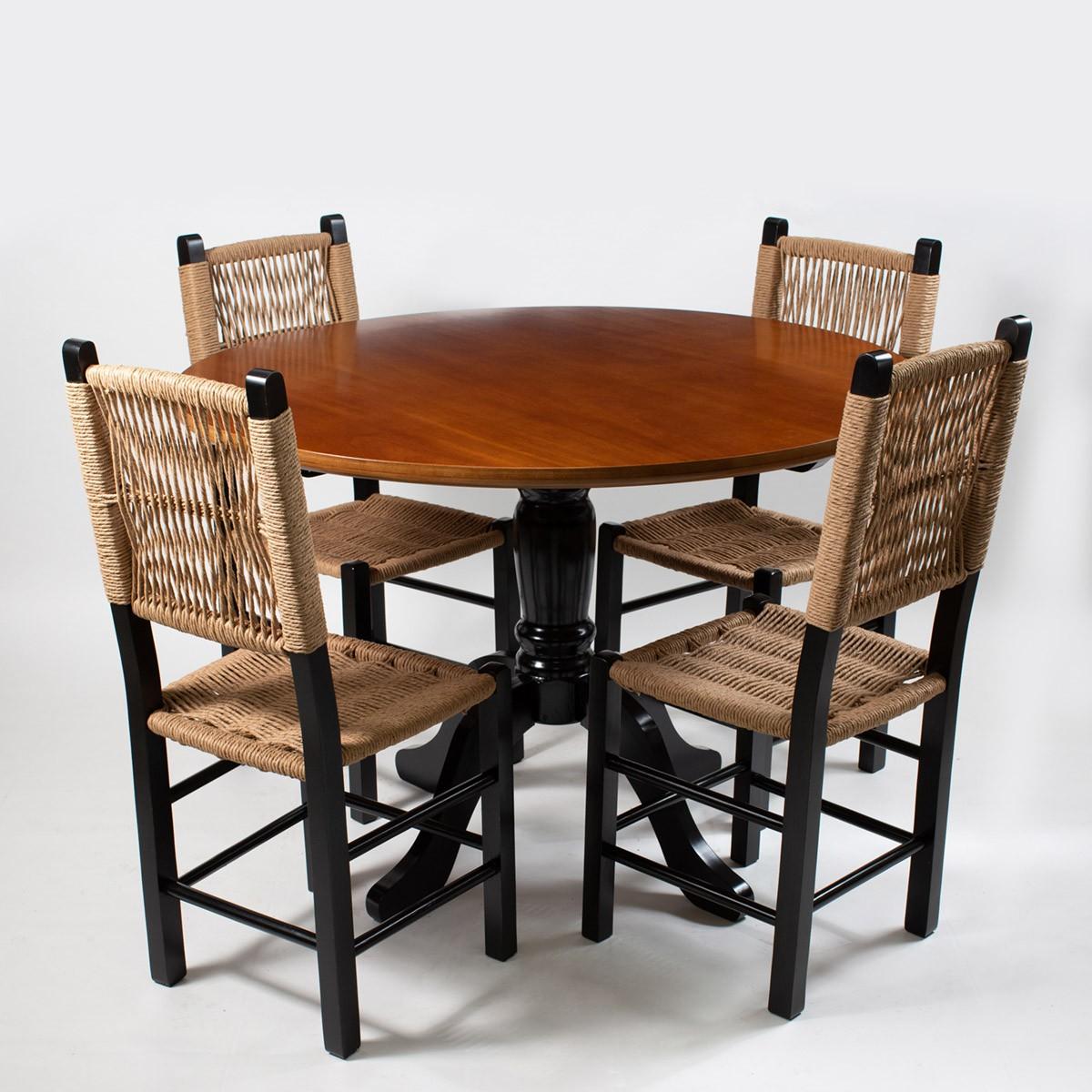 Jogo Mesa Redonda com 4 Cadeiras Sertaneja