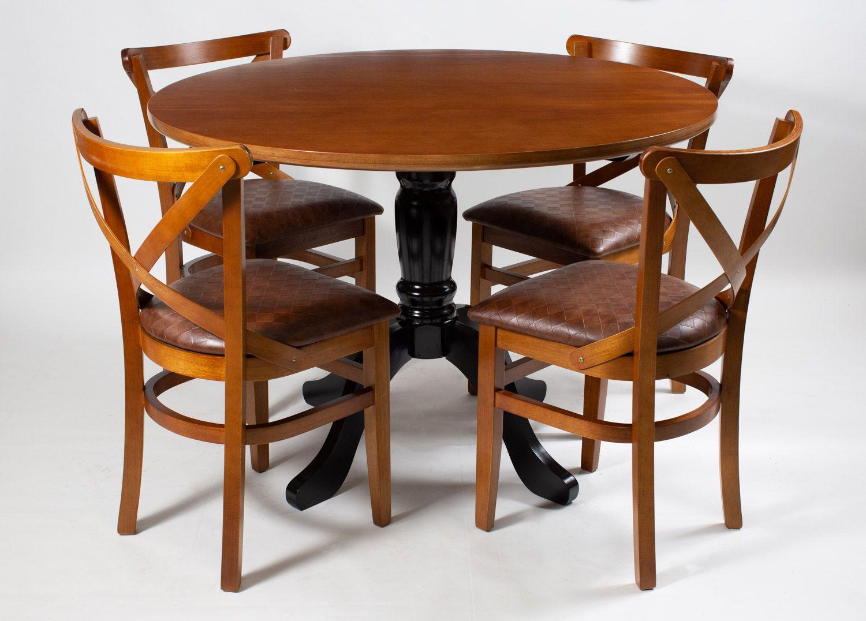 Jogo Mesa Redonda com 4 Cadeiras de Madeira Maciça