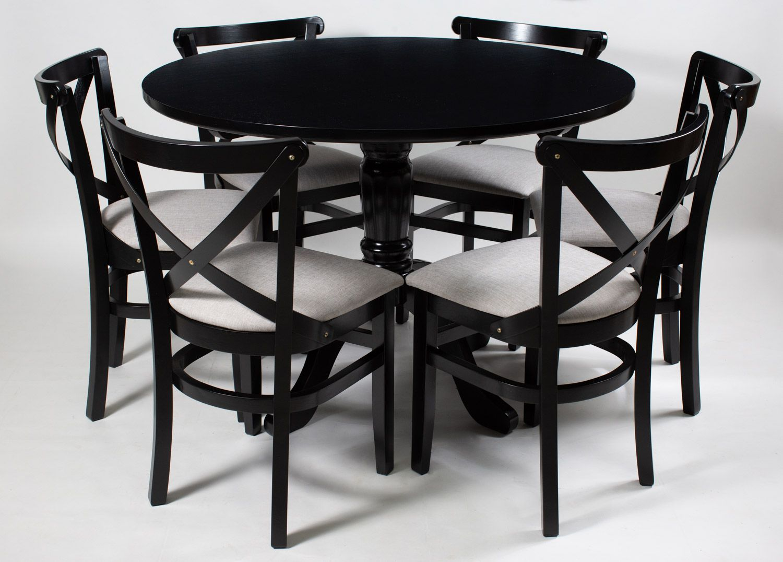 Jogo Mesa Redonda com 6 Cadeiras  de Madeira para Área Interna
