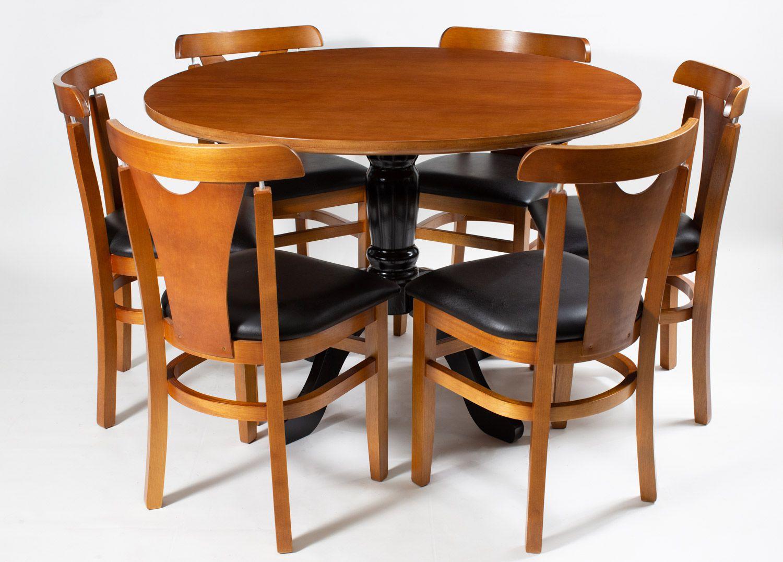 Jogo Mesa Redonda com 6 Cadeiras  de Madeira Reforçada