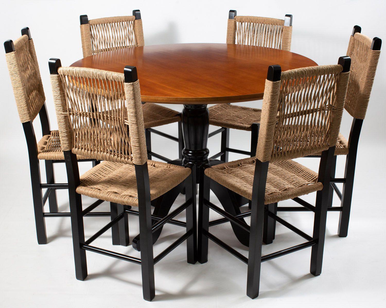 Jogo Mesa redonda com 6 Cadeiras de Palhinha Moderna