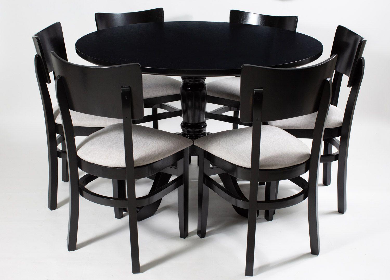 Jogo Mesa Redonda com 6 Cadeiras  Madeira Pura