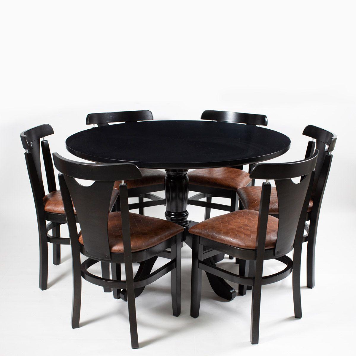 Jogo Mesa Redonda com 6 Cadeiras para Área de Churrasqueira