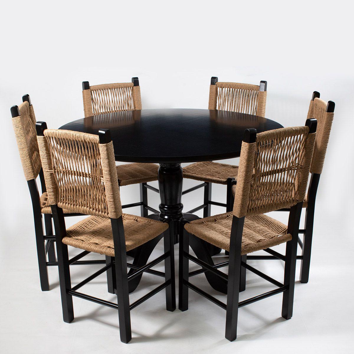 Jogo Mesa redonda com 6 Cadeiras Rusticas para Cozinha