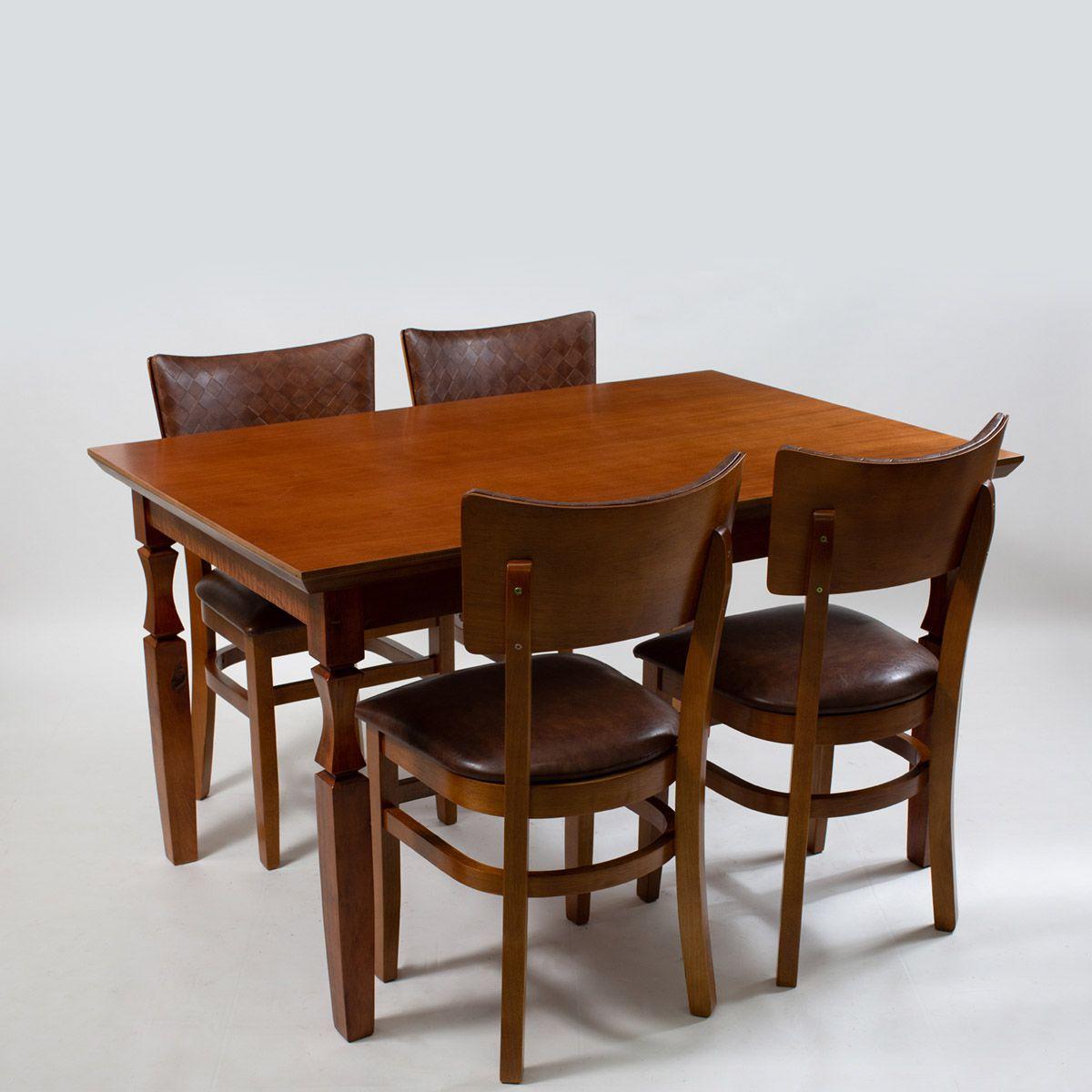 Jogo Mesa Retangular com 4 Cadeiras Americanas para Cozinha com Estofado