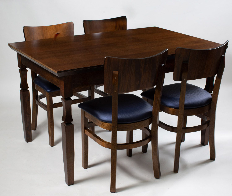 Jogo Mesa Retangular com 4 Cadeiras de Madeira com Assento Estofado