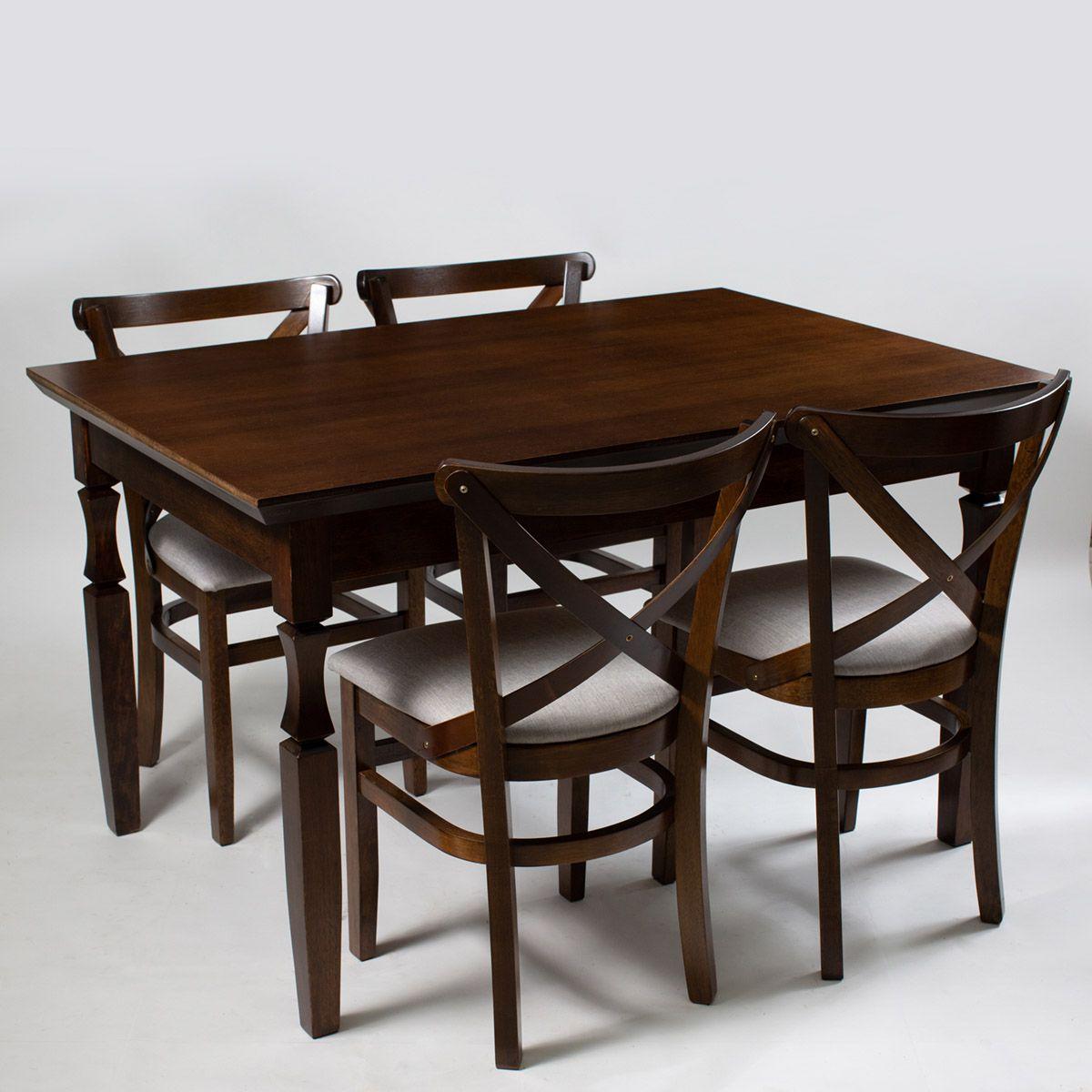 Jogo Mesa Retangular com 4 cadeiras de Madeira Maciça