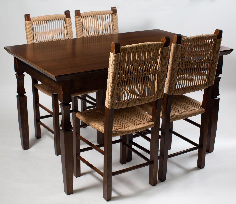Jogo Mesa Retangular com 4 Cadeiras sertanejas