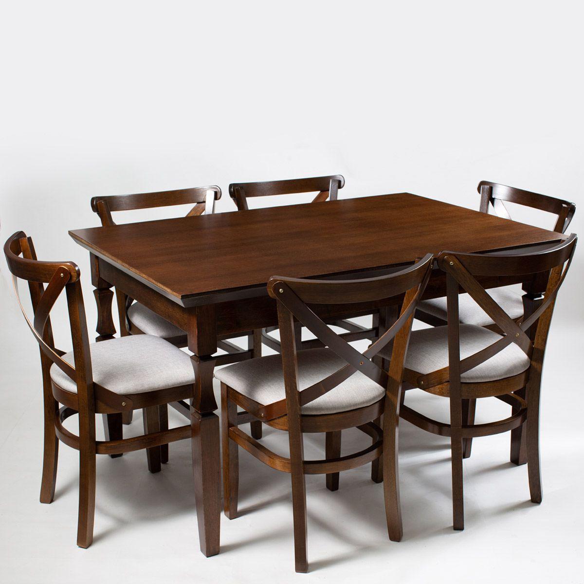 Jogo Mesa Retangular com 6 Cadeiras de Madeira Maciça
