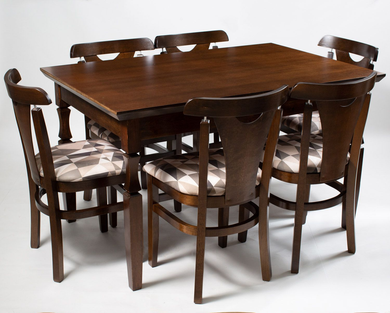 Jogo Mesa Retangular com 6 Cadeiras  de Madeira Reforçada