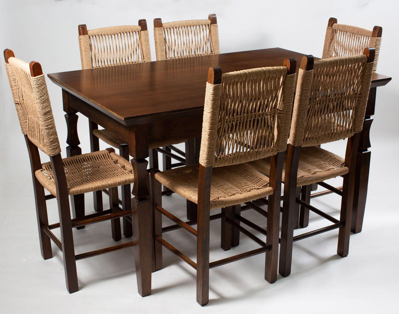 Jogo Mesa Retangular com 6 Cadeiras Palhinha Moderna