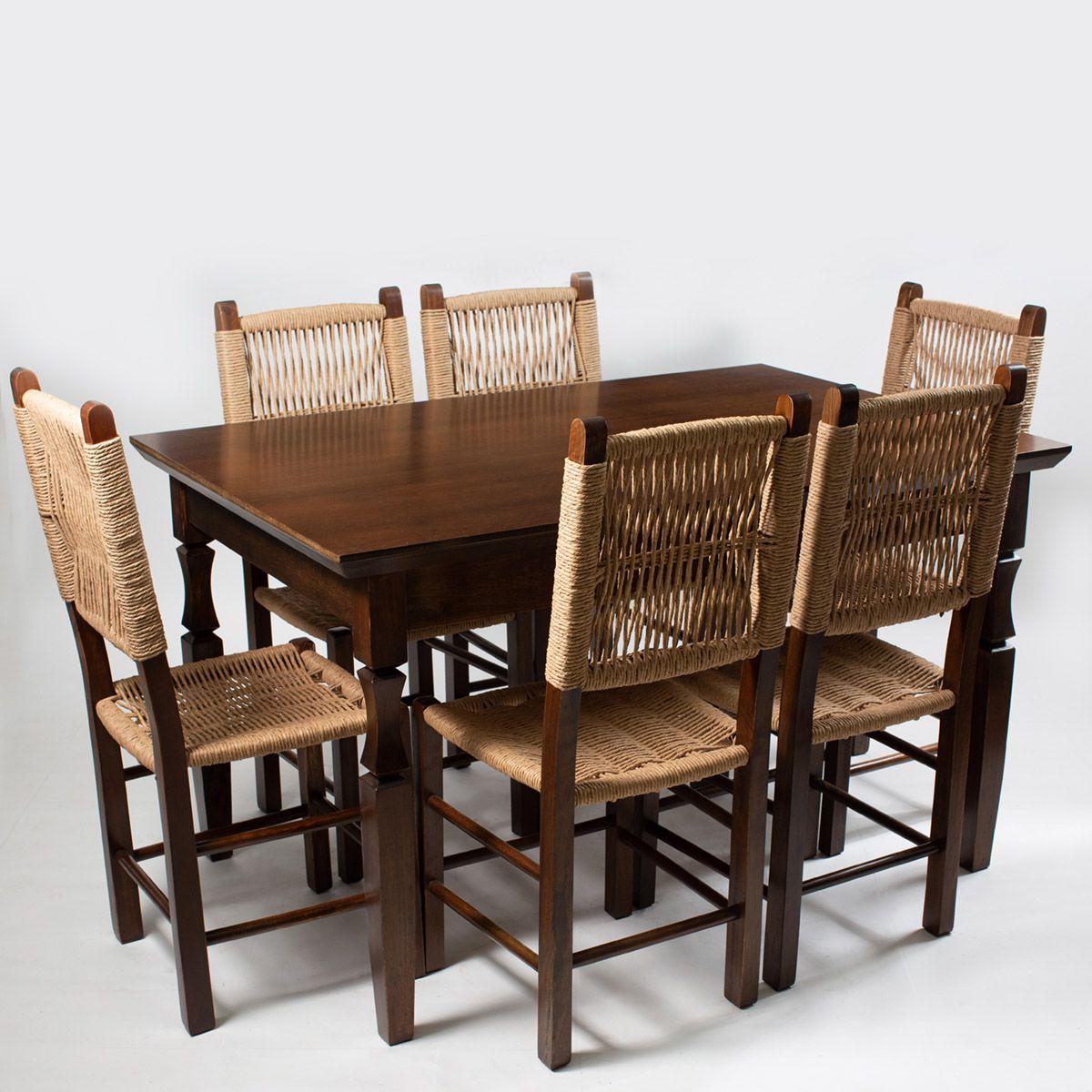 Jogo Mesa Retangular com 6 Cadeiras  Rusticas para Cozinha