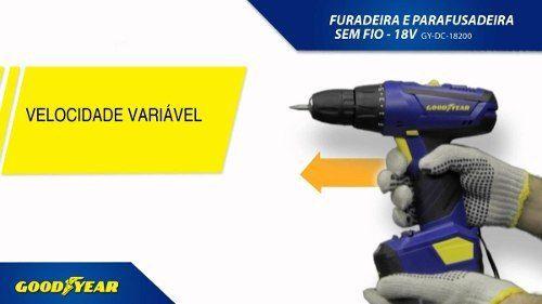 Furadeira Parafusadeira Goodyear Sem Fio Bivolt Bateria 9,6v