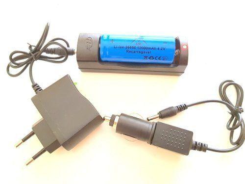 Carregador + Bateria 26650 12000mah 4.2v Para lanterna