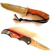 Faca Esportiva Inteiriça Aço Inox + Canivete