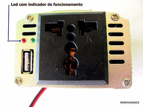 Fonte Inversor Conversor Veicular 200w 12v Para 110v Usb 5v