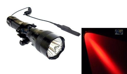 Lanterna De Led Police Luz Vermelha Caça + Remoto