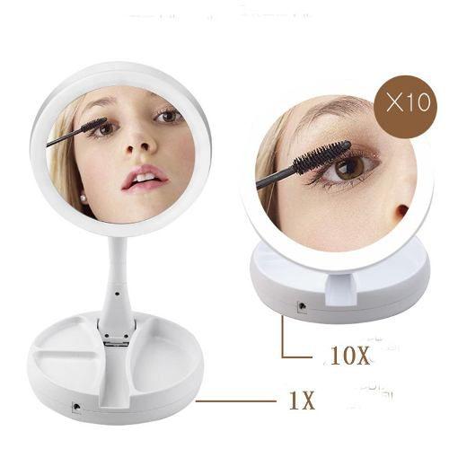Espelho De Luz Led Dobravel Aumenta 10x P/maquiagem
