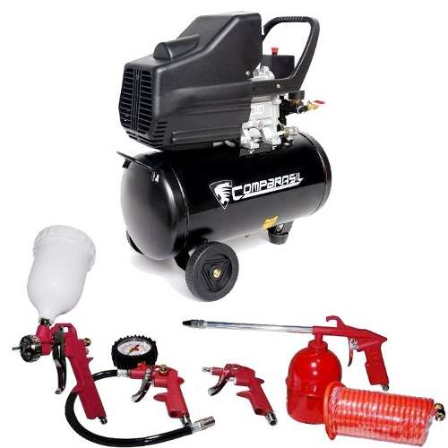 Compressor Ar Duplo 25l Pistão 2 Hp Kit5 Pintura 8 Bar 220v